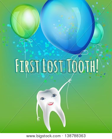 First lost tooth beautiful vector illustration  in childish style. Design Idea for a greeting card, certificate, medical poster or leaflet. Editable image in bright blue and green colours.