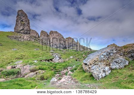 Grassy Slopes of Old Man of Storr of the Isle of Skye in Scotland