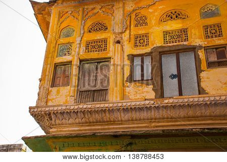 Pushkar. India. A Fragment Of A Wall With Painting.