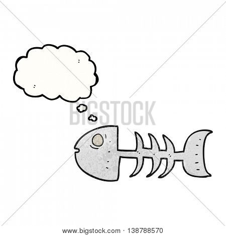 freehand drawn thought bubble textured cartoon fish bones