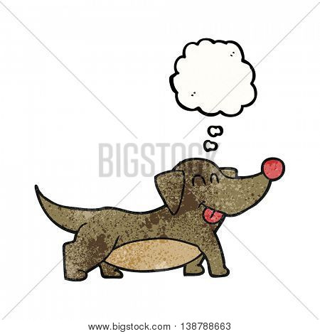 freehand drawn thought bubble textured cartoon happy little dog