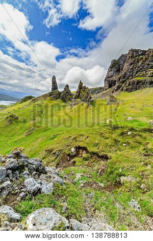 Green Slopes of Old Man of Storr on the Isle of Skye in Scotland