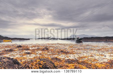 Low Tide Seaweed and Crab Fishing Boats Southern End of the Sleat Peninsula on the Isle of Skye in Scotland