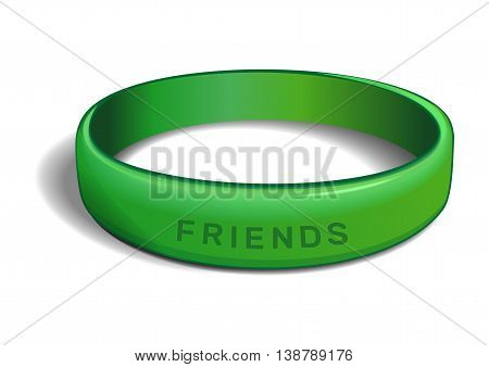 Green plastic wristband with the inscription - FRIENDS. Friendship band isolated on white background. Realistic vector illustration for International Friendship Day