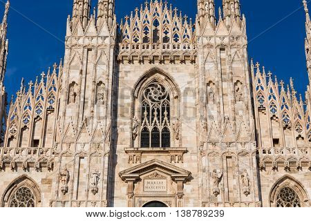 Duomo Cathedral of Milan Italy - detail front view