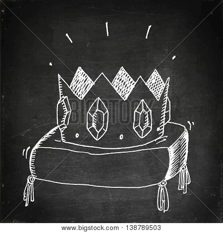 Golden crown with jewels. Hand drawn vector stock illustration. Chalk board drawing.