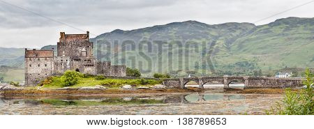 Panorama of Scottish Eilean Donan Castle from the South