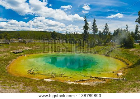 Beautiful hot spring. Yellowstone National Park, Wyoming, USA