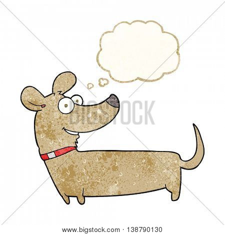 freehand drawn thought bubble textured cartoon happy dog