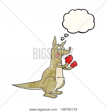 freehand drawn thought bubble textured cartoon boxing kangaroo