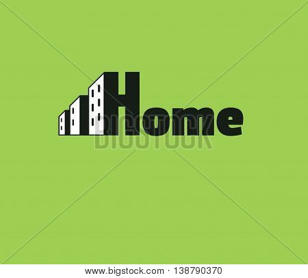 House logo. Multi-storey house. New buildings on a green background