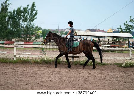Teenage girl rides on a brown horse