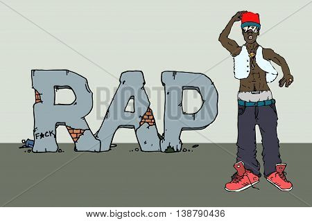 Rap singer. Hand drawn vector stock illustration.
