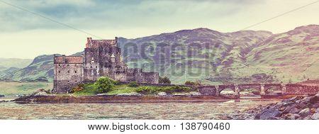 Scottish Castle Panorama - Eilean Donan in Dornie