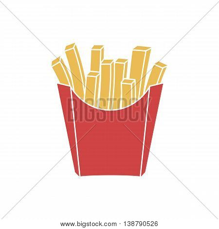 French fries in paper red box icon. Vector illustration flat design. Fast food icon.