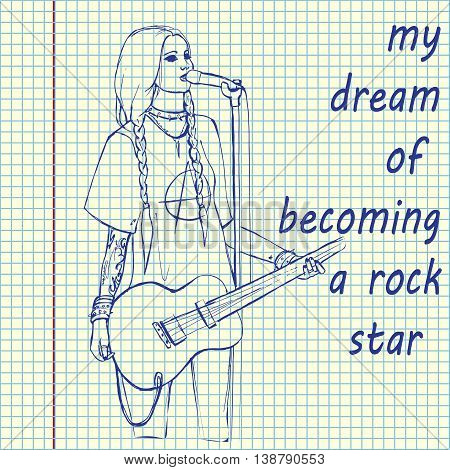 Rock girl with guitar. Rock star. Hand drawn vector stock illustration. Sheet ball pen drawing.