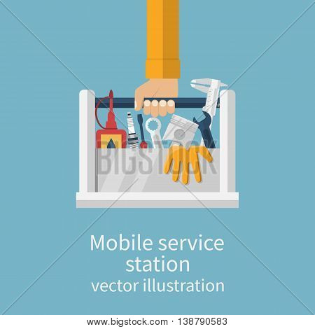 Mobile service station auto. Service center concept. Auto mechanic with toolbox and spare parts for repair of cars. Call repairman to repair cars. Vector illustration flat design.