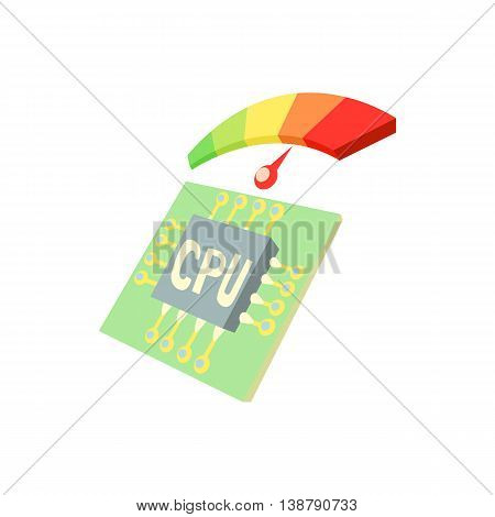 Measurement of processor temperature icon in cartoon style isolated on white background. Technique symbol