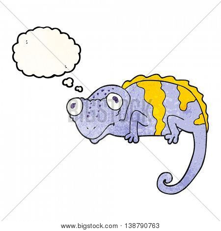 freehand drawn thought bubble textured cartoon chameleon