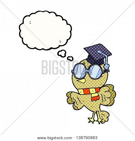 cute freehand drawn thought bubble cartoon well educated bird