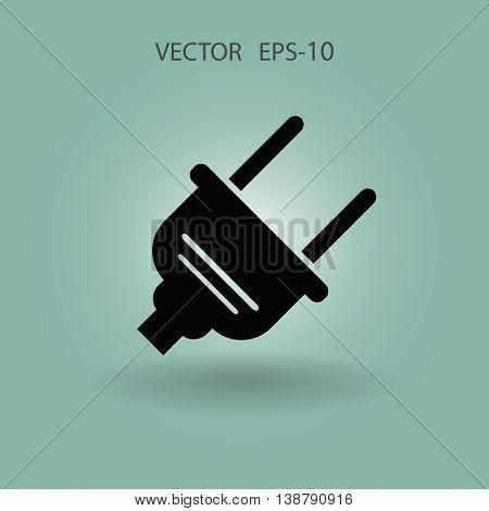 Flat a power plug  vector icon
