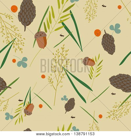 pattern with the image of the forest cones fir needles leaves blades of grass acorns and ants on a gray-beige background