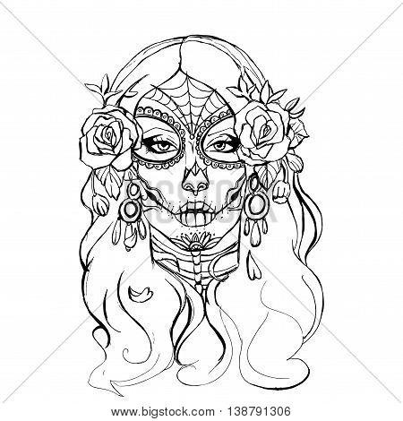 Skull girl. Hand drawn vector stock illustration. Black and white whiteboard drawing.