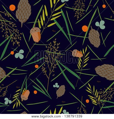 pattern with the image of the forest cones fir needles leaves blades of grass acorns and ants on a dark blue background