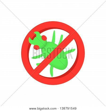 Sign of ban insects icon in cartoon style isolated on white background. Prohibition symbol