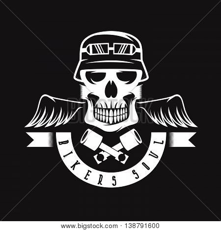 Biker Theme Label With Pistons ,wings And Skulls