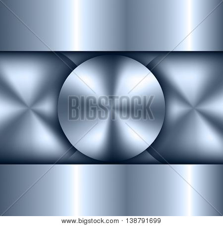 Background metallic, circular metallic vector plate, metal texture.