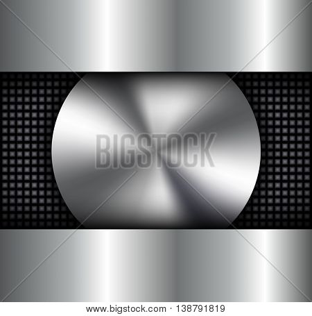Background metallic, circular metallic vector plate, silver metal texture.
