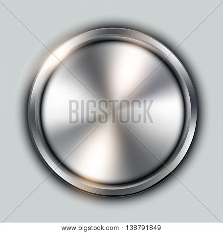 Glossy button, circular metallic vector plate, metal texture