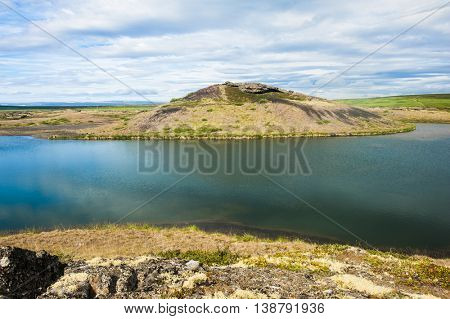 View at pseudocraters  near the lake Myvatn - northern Iceland