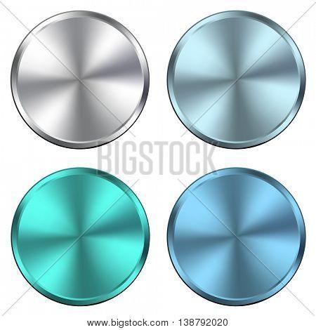 Circular metallic vector plates, metal textures silver blue.