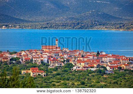 Historic town of Betina skyline view island of Murter Croatia