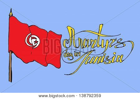Martyr's day in Tunisia. Hand drawn vector stock illustration. Colorful image