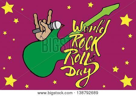 World day of rock. Hand drawn vector stock illustration.