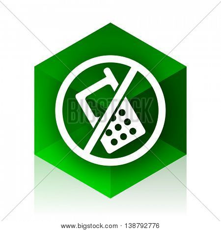 no phone cube icon, green modern design web element
