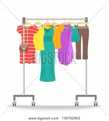 Hanger rack with women clothes collection. Flat style vector illustration. Female casual garment hanging on rolling metal commercial stand. Dresses, shirts, skirts, pants on hangers