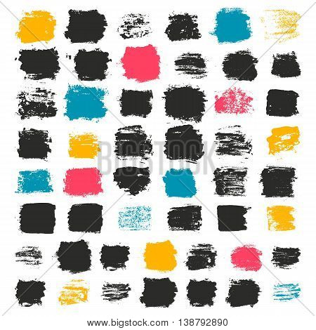 Set of 50 grungy artistic squares. Messy hand drawn shapes, drops and stains isolated on white background. Qualitative trace of real paint and ink textures. Trendy design elements