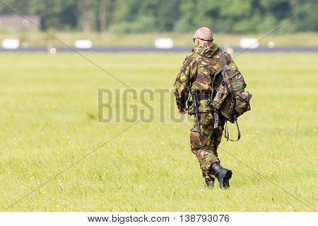 Leeuwarden, The Netherlands - June 9; Military Guard Walking At The Runway During The Royal Netherla