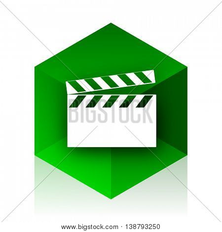 video cube icon, green modern design web element