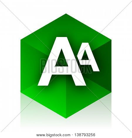 alphabet cube icon, green modern design web element