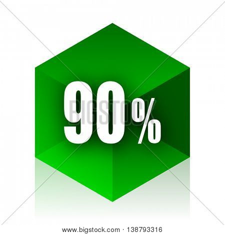 90 percent cube icon, green modern design web element