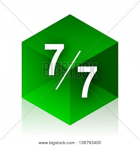 7 per 7 cube icon, green modern design web element