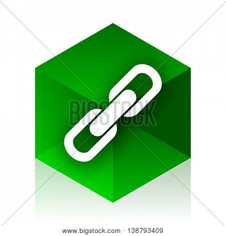 link cube icon, green modern design web element