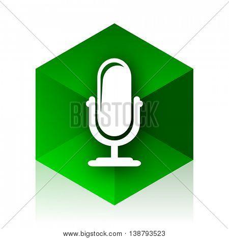 microphone cube icon, green modern design web element