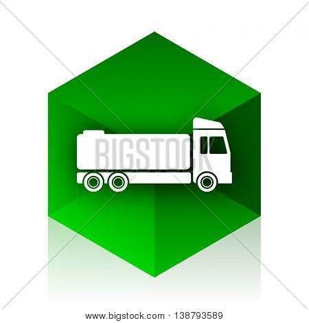 truck cube icon, green modern design web element