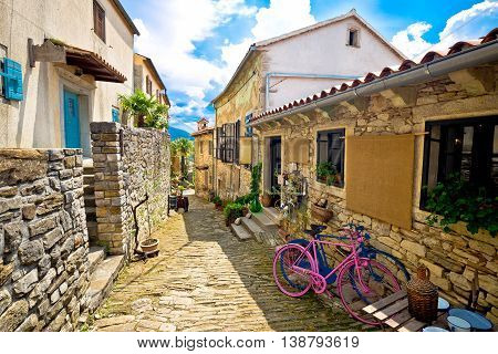 Town of Hum stone steet view Istria Croatia